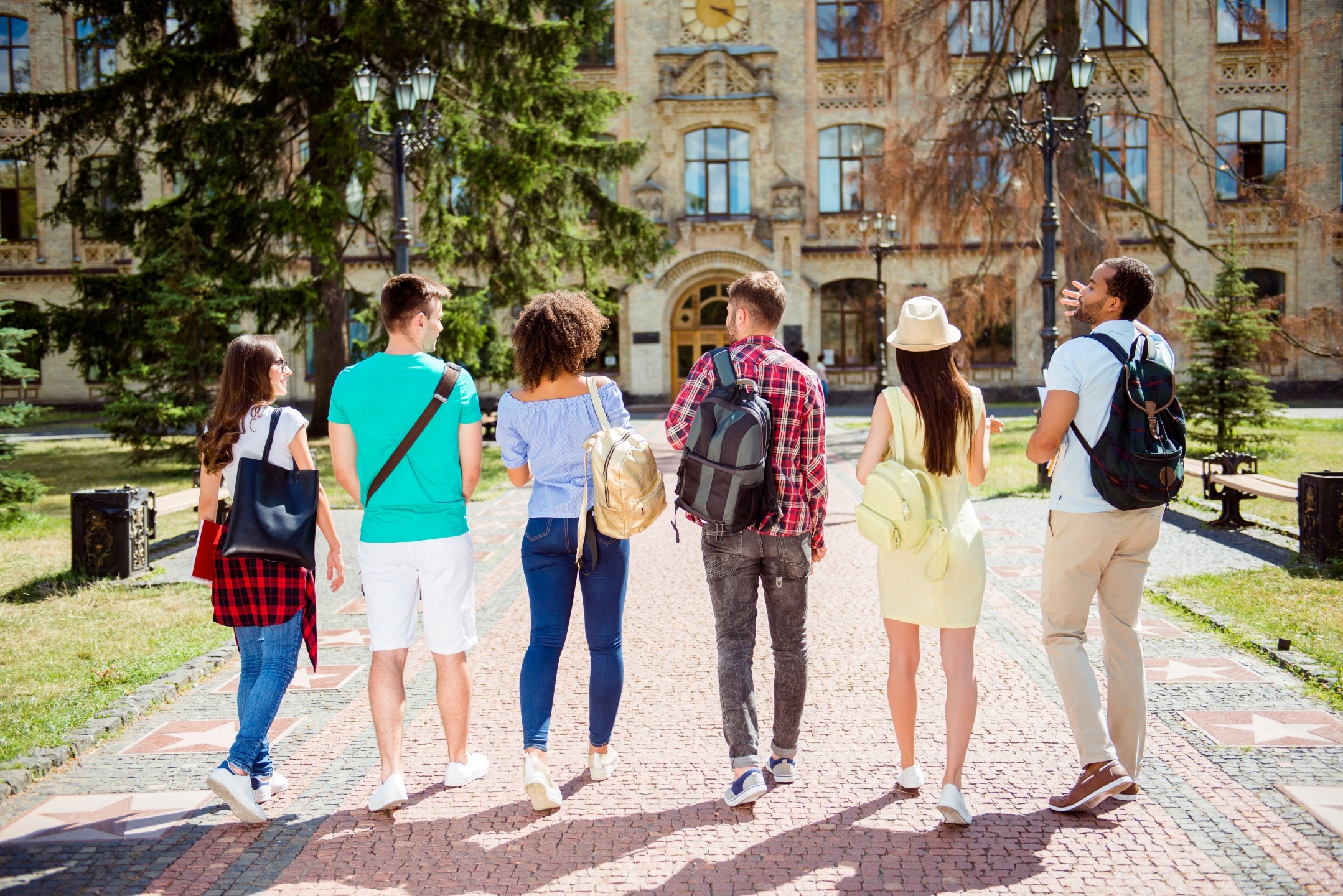 Rear,View,Of,Six,Students,,Bachelor`s,Campus,Life,Rhythm.,They
